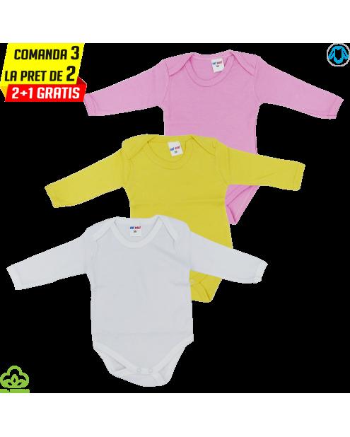 Body bebelusi din bumbac, 3 bucati, roz galben alb, 0-9 luni