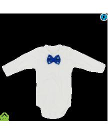 Body bebelusi din bumbac, alb, papion, 0-6 luni