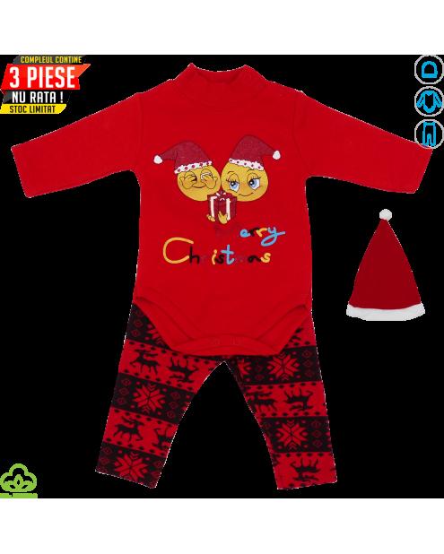 Compleu bebelusi din bumbac, 3 piese, rosu-negru, Merry Christmas, 0-12 luni