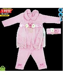 Compleu bebelusi din bumbac, 3 piese, roz, dantela si floricele, 0-6 luni