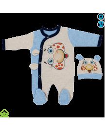 Salopeta bebelusi din bumbac, albastru-gri, tauras, 0-3 luni
